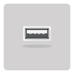 Vector of flat icon, usb port on isolated background