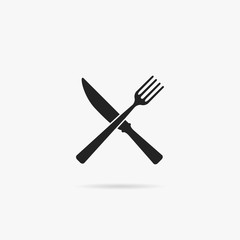 Knife icon with a fork.
