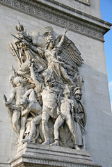 Architectural detail of the Arc de Triomphe de l'Etoile, Paris, France