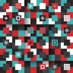Modern seamless pattern with colorful geometric shapes