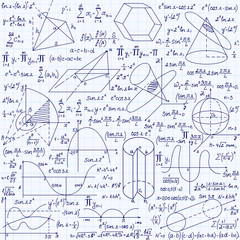"Mathematical vector seamless pattern with geometrical figures, plots and equations, ""handwritten on the grid copybook paper"". Endless math texture"