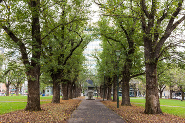 A park next to University of Melbourne in Melbourne, Australia