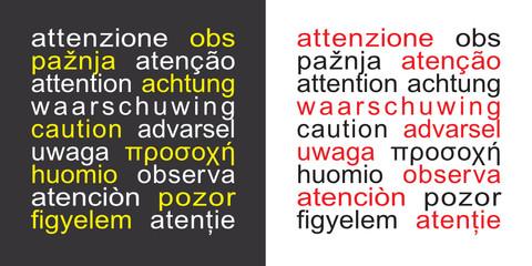Cartello quadrato attenzione in 17 lingue