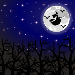 witch flying on a broom on a full moon in the forest