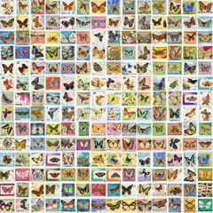 Коллаж из почтовых марок разных стран на тему Бабочки