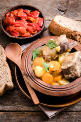 Stew soup and pepper salad