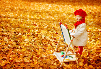 Autumn Baby Artist Painting Fall Yellow Leaves, Creative Kid Girl