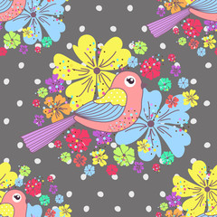 Fond de hotte en verre imprimé Hibou Seamless pattern with birds and flowers on a polka dots on a gray background