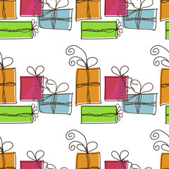 Fond de hotte en verre imprimé Hibou Seamless festive pattern with gifts on a white background