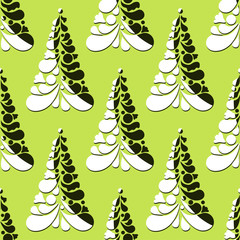 Photo sur Aluminium Hibou Christmas seamless pattern with Christmas trees on a green background