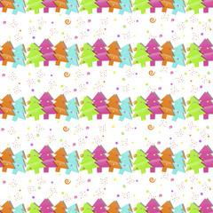 Photo sur Aluminium Hibou Christmas seamless pattern with Christmas trees on a white background