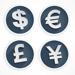 Set of money symbols in round and grey color, vector