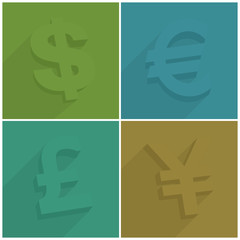 Set of money symbols with shadow on color, vector illustration