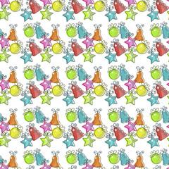 Photo sur Aluminium Hibou Christmas seamless pattern with Christmas decorations