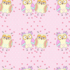 Fond de hotte en verre imprimé Hibou Seamless pattern with owls in love on a pink background