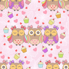 Beautiful card with owls and cake on a pink background