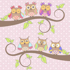 Photo sur Aluminium Hibou Beautiful card with owls in love on branch