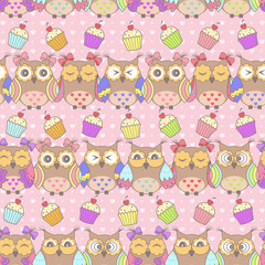 Fond de hotte en verre imprimé Hibou Beautiful pattern with owls and cakes on a pink background