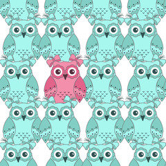 Photo sur Aluminium Hibou Seamless pattern of pink and blue owls on a white background