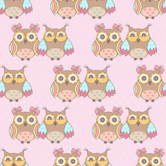 Photo sur Aluminium Hibou Beautiful pattern with owls on a pink background