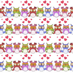 Photo sur Aluminium Hibou Seamless pattern of colorful owls on a white background
