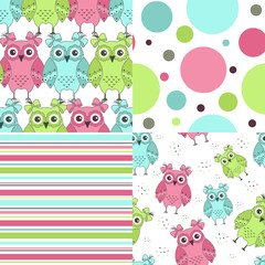 Photo sur Aluminium Hibou Four samples of fabric with owls on a white background