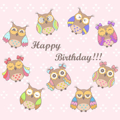 Fond de hotte en verre imprimé Hibou Beautiful card with a birthday with owls on a pink background