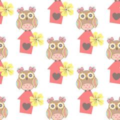 Fond de hotte en verre imprimé Hibou Beautiful seamless pattern with cute owls and birdhouse