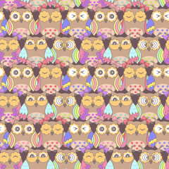 Seamless pattern of owls on a dark background