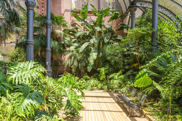 Tropical greenhouse, the Umbracle is a wood brick construction for tropical plants in the Citadel Park Barcelona