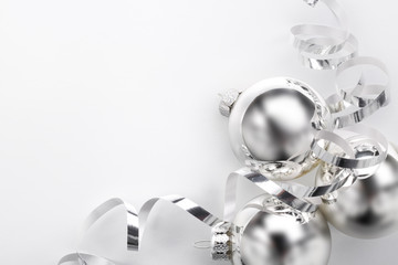 Wall Mural - Silver Christmas balls and ribbon