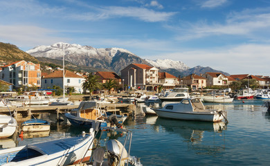 Foto op Canvas Stad aan het water View of Tivat city, Montenegro