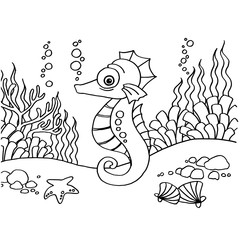 Seahorse coloring pages vector