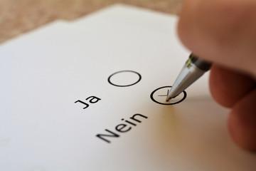 Abstimmung über Ja oder Nein