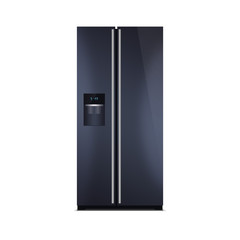 American style fridge freezer isolated on white, deep blue color. The external LED display, with blue glow. Modern refrigerator