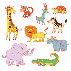 African Animals set - funny cartoon hand drawn characters.Vector illustration, color, childish Jungle Animals collection. Scetchy tropical animals. Isolated on white.
