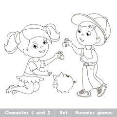 Boy and girl play with money.