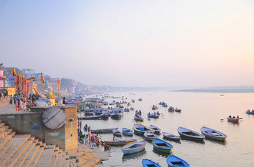Boat wharf on Ganges river, Varanasi, India