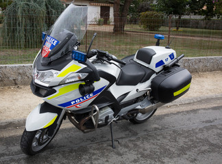 Police motorbikes parked on the street. The National Police