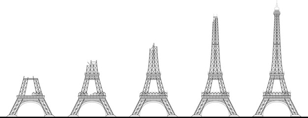Eiffel Tower Construction Sequence Illustration