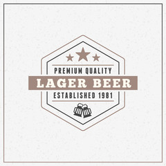 Retro Vintage Beer Logotype Design Element. Vector Illustration