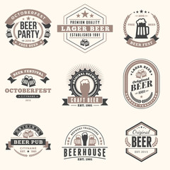Set of Retro Vintage Beer Badges, Labels, Logos in Brown Colors on Light Background. Vector Illustration