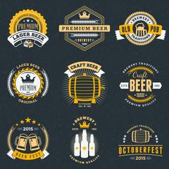 Set of Retro Vintage Beer Badges, Labels, Logos on Dark Background. Vector Illustration