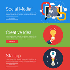 Social Media. Creative Idea. Startup. Flat Design Vector Illustration Concepts for Web Banners and Promotional Materials