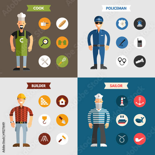Free Infographic free infographic builder : Profession People. Builder. Cook. Policeman. Sailor. Set of Flat ...