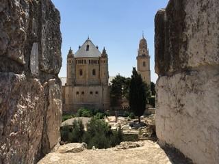 Basilica della Dormiglione dalle mura di Gerusalemme, Monte Sion, Israele