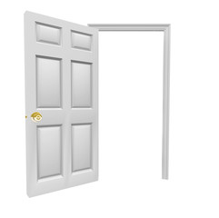 Door Open Invitation Come Inside Blank Copy Space Your Message
