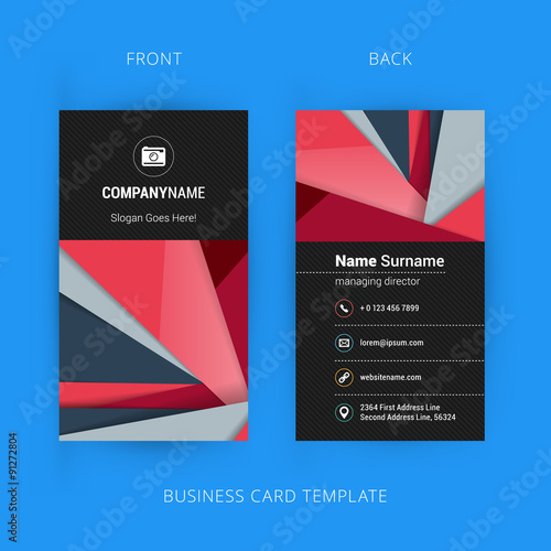 Creative And Clean Business Card Template With Material Design Abstract Colorful Background