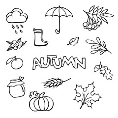 Sketchy vector hand drawn Doodle cartoon set of objects on the a