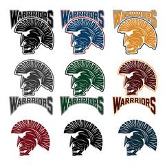 set of skull in spartan helmet,warriors emblems
